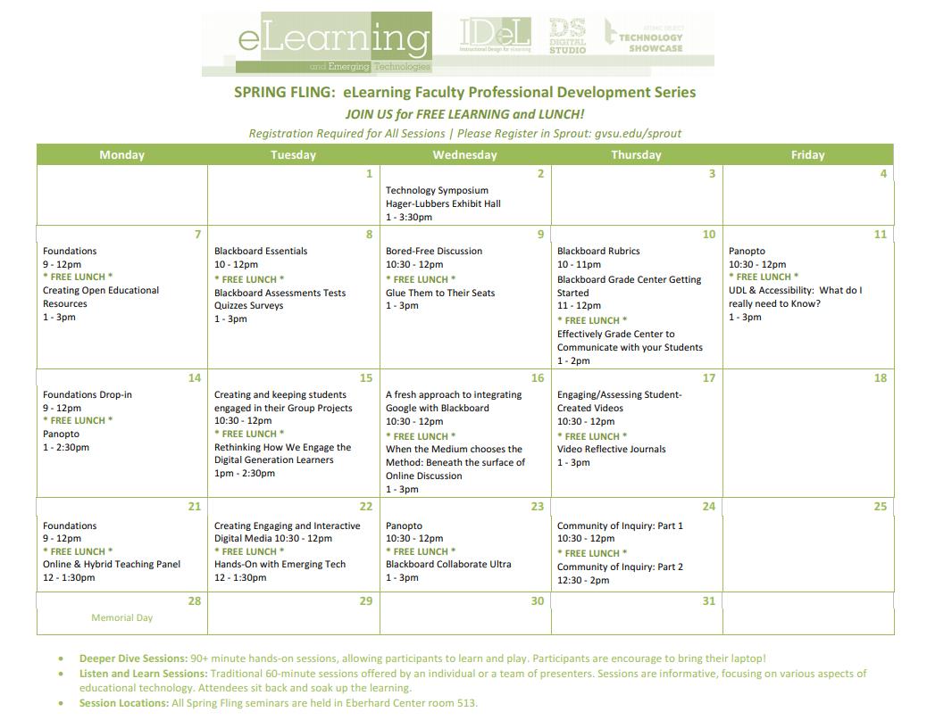 Spring Fling Seminar Calendar