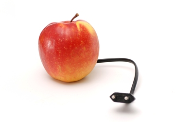 Apple with charger attached