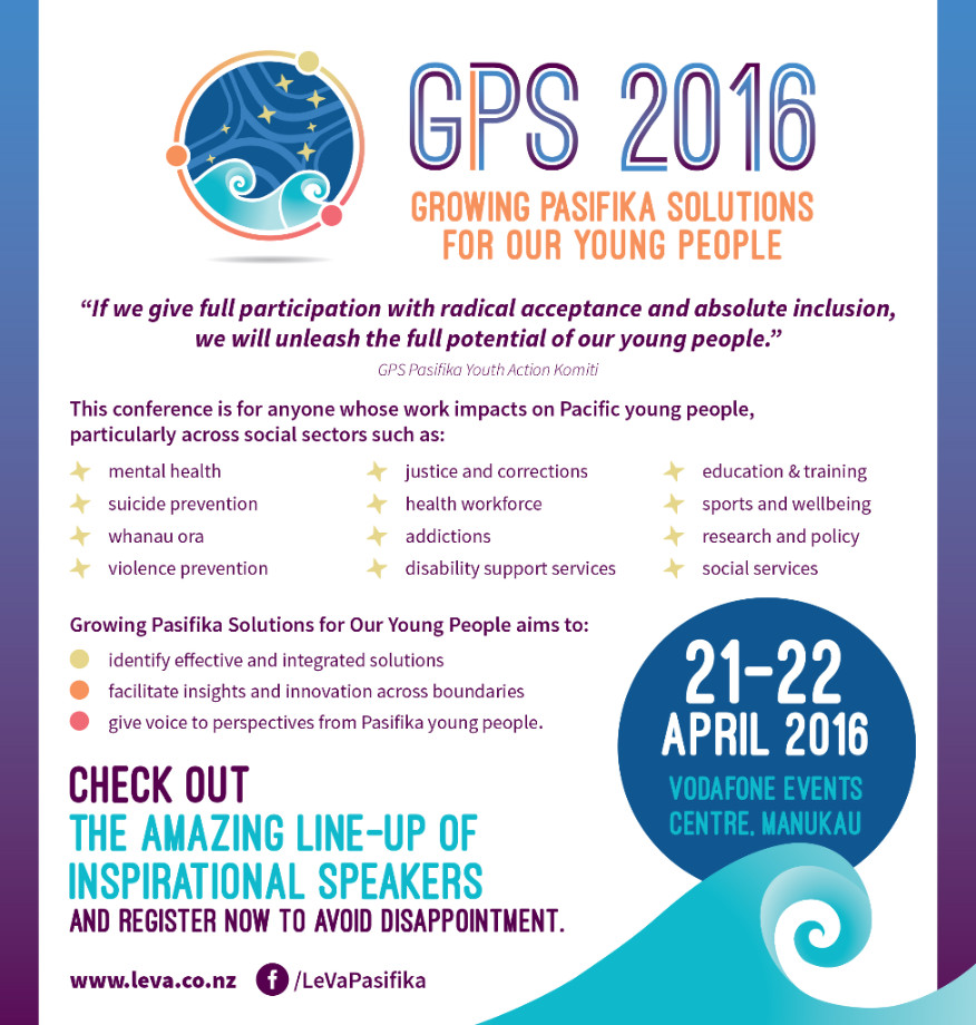 GPS Conference 21-22 April - Growing Pasifika Solutions for Out Young People
