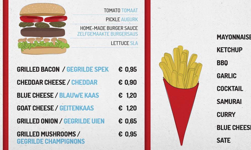 קטע מתוך התפריט של BurgerBar Amsterdam