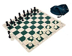 Silicone Pieces and Board Chess Set with Drawstring Bag