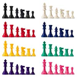 Heavy Tournament Chess Pieces - Colored Half Set