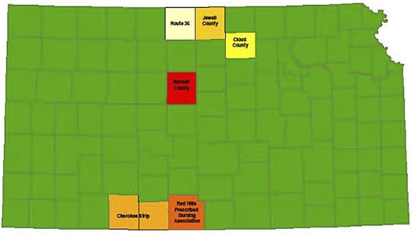 Map showing Kansas Prescribed Fire Council activities