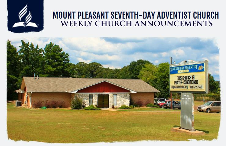 Mount Pleasant SDA Church Weekly Announcements
