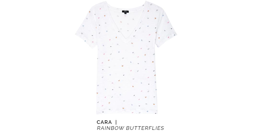 Cara Rainbow Butterflies White Tee
