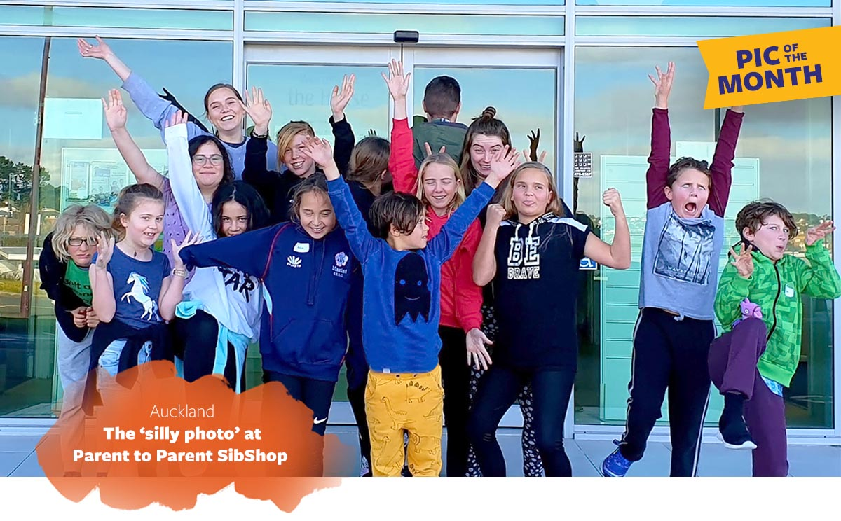 Kids pulling faces at Parent to Parent SibShop