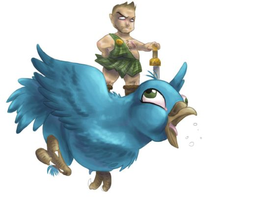 Soldier riding a Twitter bird