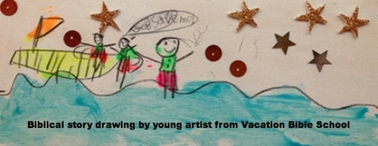 Biblical story drawing by young artist from Vacation Bible School