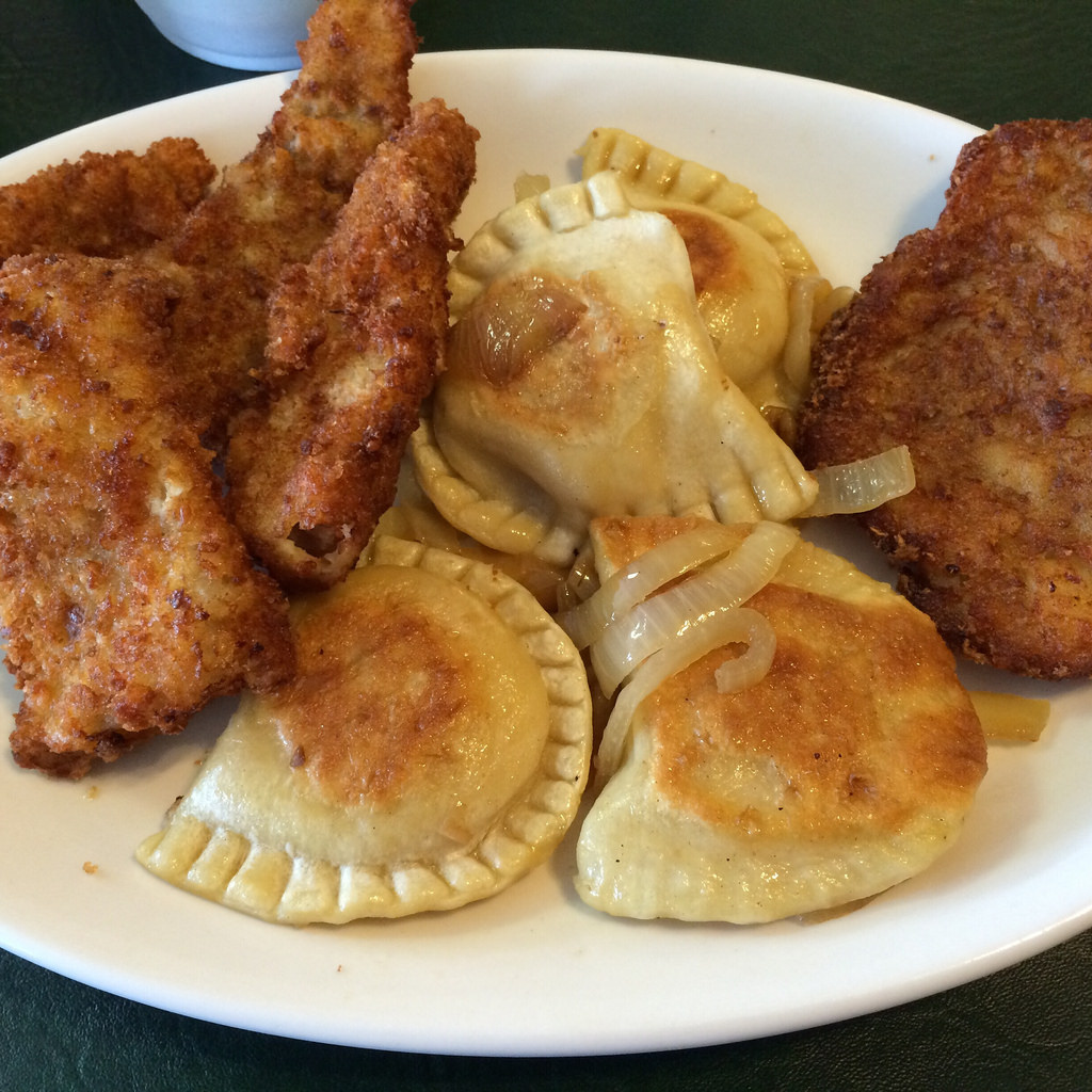 fish fry plate with pierogi