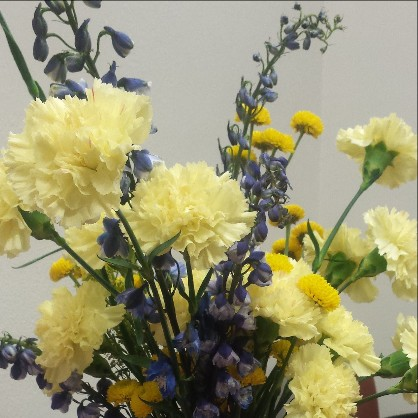 picture of blue and gold flowers