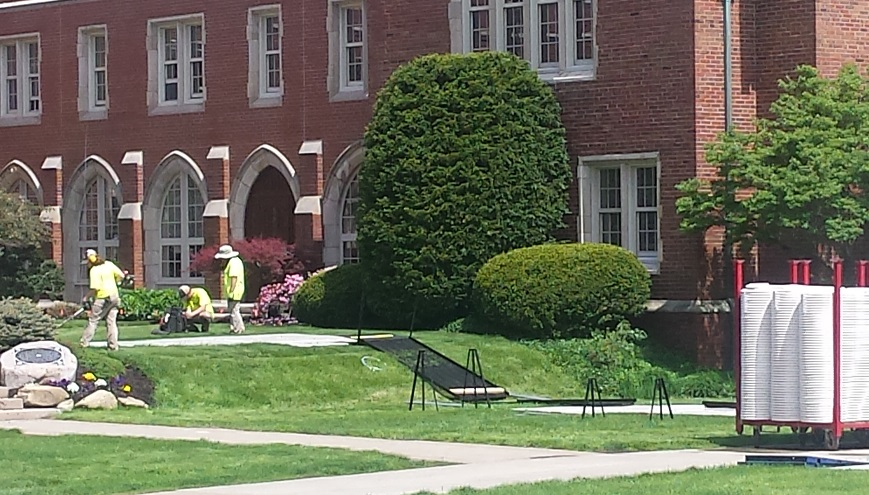 Commencement preparations underway on Rodman Terrace