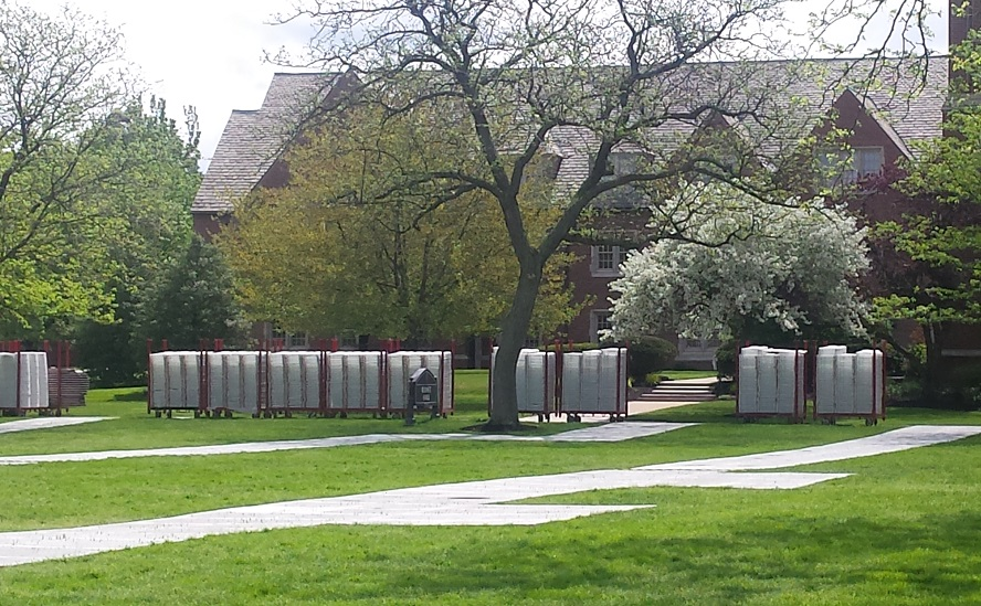 "The ""May flowers"" (Commencement seating) ready to be installed on the quad"
