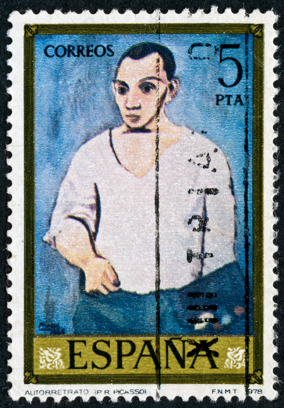 A stamp featuring Pablo Picasso