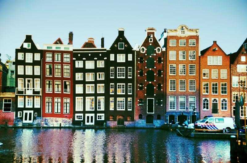 typical houses in Amsterdam on the canal