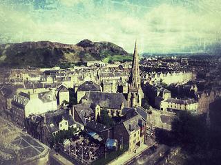 bird-view image of Edinburgh