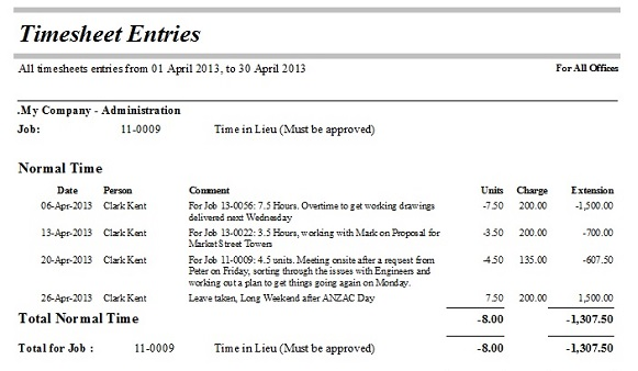 Timesheet Entries, transactions between two dates