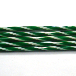 Kelly Green and French Vanilla Striped Cane C103