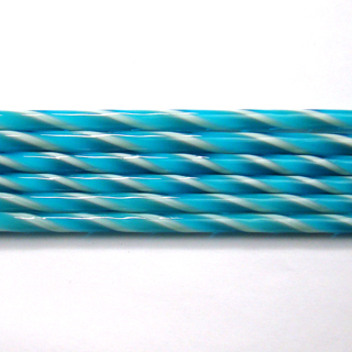 Turquoise and French Vanilla Striped Cane C106