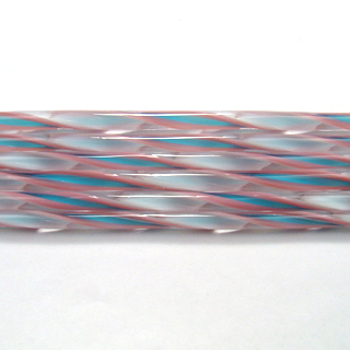 Pink, Turquoise and White Streamer Cane C323