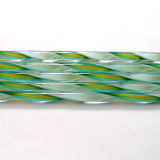 Turquoise, Marigold, and White Streamer Cane C326