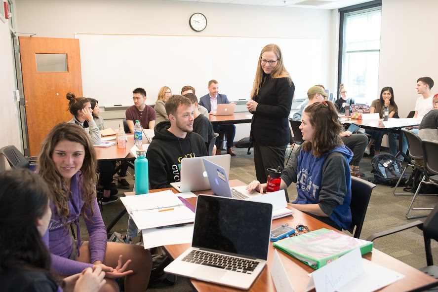 PhD students in a classroom