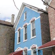 Blue house facade