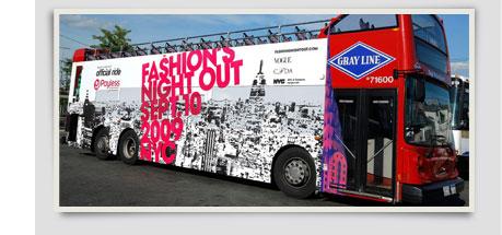 Payless-sponsored double-decker bus