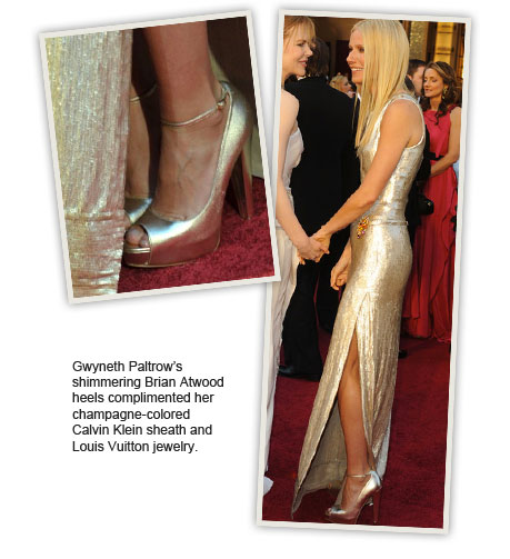 Gwyneth Paltrow's shimmering Brian Atwood heels complimented her champagne-colored Calvin Klein sheath and Louis Vuitton jewelry.