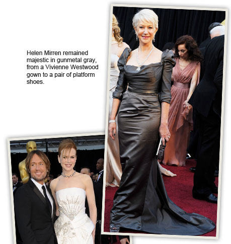 Helen Mirren remained majestic in gunmetal gray, from a Vivienne Westwood gown to a pair of platform shoes.