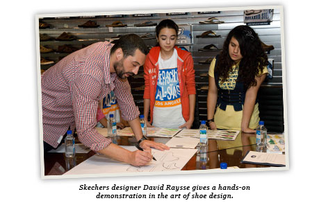 Skechers designer David Raysse gives a hands-on demonstration in the art of shoe design.