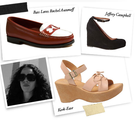 Bass Loves Rachel Antonoff, Kork-Ease and Jeffrey Campbell.
