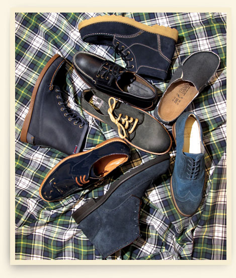 Clockwise from top: suede boot by Bass; Birki's canvas clog; J Shoes brogue; Florishiem by Duckie Brown wing-tip boot; Dragan Mrdja patent oxford; Sebago boot; Eastland deck shoe. Center: Frye oxford.