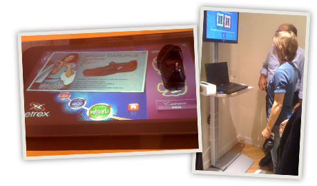 Interactive technology shares specs and benefits. The iStep Wave measures guests feet.