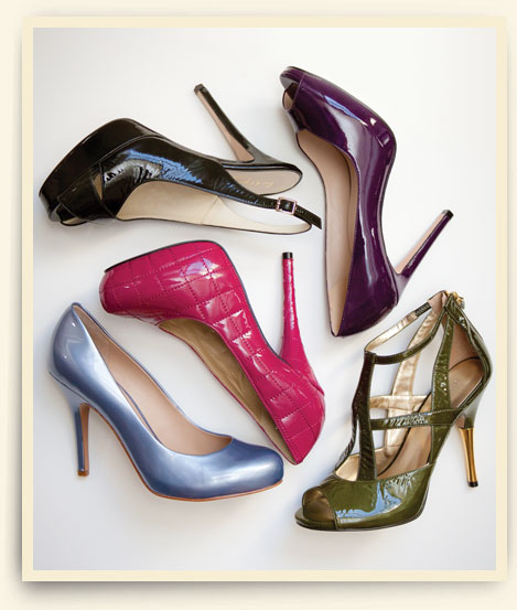 Clockwise from top left: Bettye Muller slingback; peep toe by Coye Nokes; Nine West cage stiletto; Joan & David pump; quilted platform pump by Sergio Zelcer.