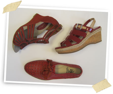 Red Alert: Earthies cut-out wedge; cork wedge by Etienne Aigner; oxford by Hush Puppies.