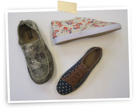 Printastic: Clockwise from top left: Crevo slip-on; Gravis lace-up; leather-trimmed lace-up by Fossil.