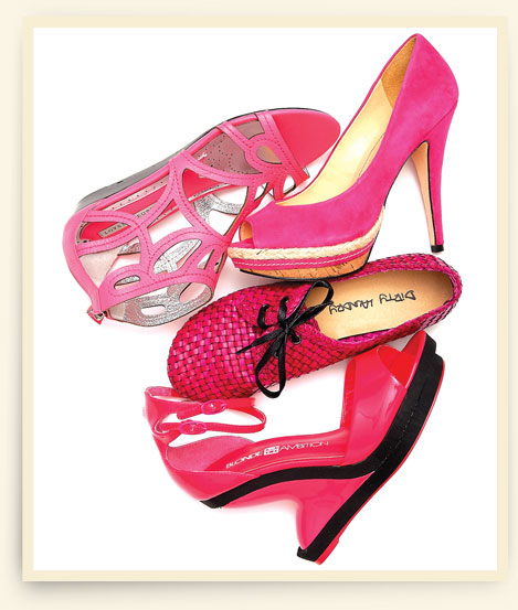 From left: Lovely People cut-out sandal; Klub Nico peep toe stiletto; woven oxford by Dirty Laundry; Blonde Ambition architectural wedge.