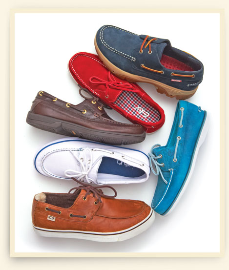 Clockwise from top left: Rugged boat shoe by Wolverine; Timberland teal boat shoe; Sneaker-soled boat shoe by Ugg Australia; Canvas boat shoe with contrast stitching by Crevo; Aetrex boat shoe with gold hardware; Red suede boat shoe by GBX.
