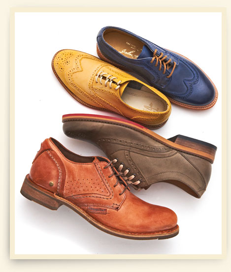 From top: Women's wingtips by Frye and J Shoes; men's Wolverine 1883 oxford and lace-up by Caterpillar.