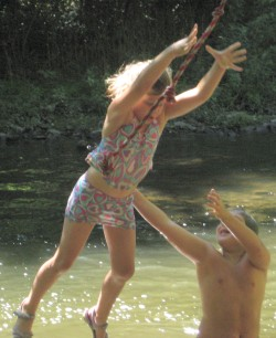 Ella, Elliott, and the rope swing