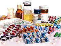 Medicines and pills in bottles and packages