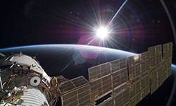 International Space Station earth and sun