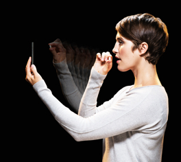 Woman using medication adherence phone application