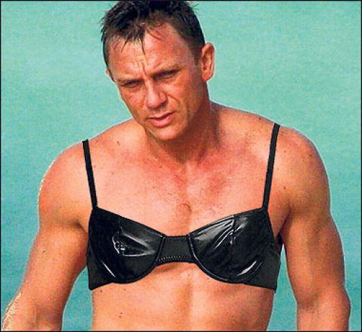 man wearing bra