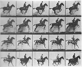 A photograph of of running horses