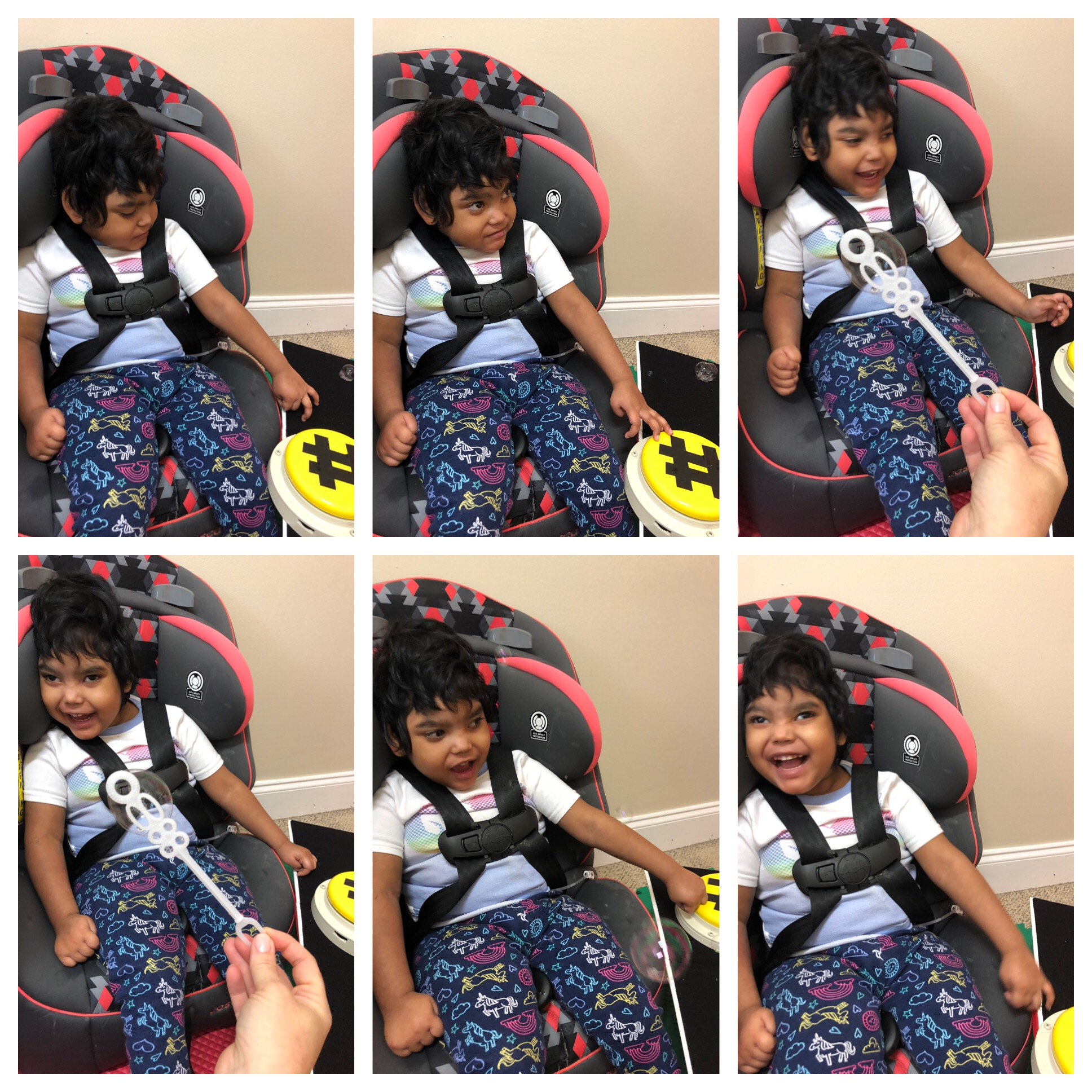 A series of 6 pictures shows Sohag sitting in a supportive Tomato Chair.  Sohag is presses a large button to communicate that she would like her teacher to blow more scented bubbles for her to feel and smell.