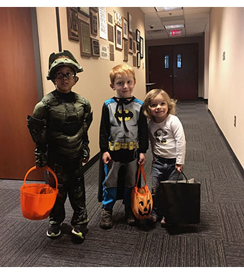 Picture of Pre-K students in Halloween Costumes