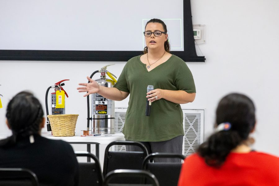 Bobbi J. Middleton speaks to attendees at a low income and heating assistance program meeting at CPN.