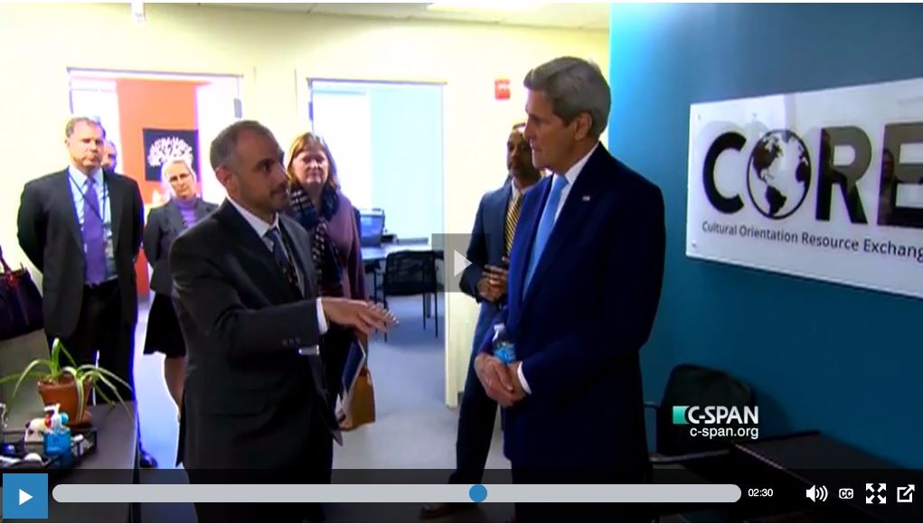 Secretary of State John Kerry visits Cultural Orientation Resource Exchange