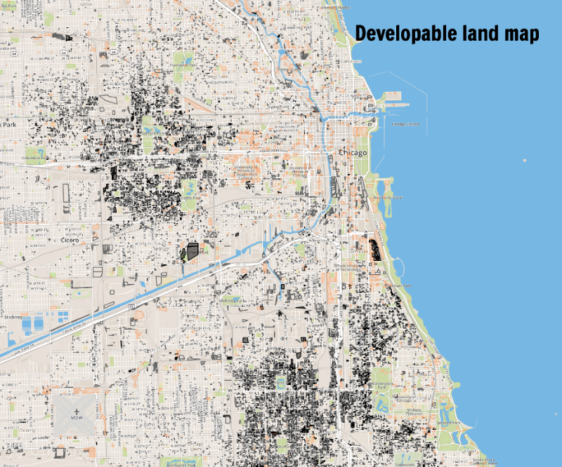 Map of developable land